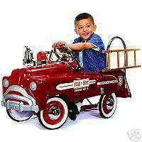 NEW 1940s Retro Red & Chrome Fire Truck Pedal Car Sad Face