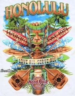 HARD ROCK CAFE WAIKIKI HONOLULU HAWAII TIKI SURFBOARD CITY T SHIRT TEE