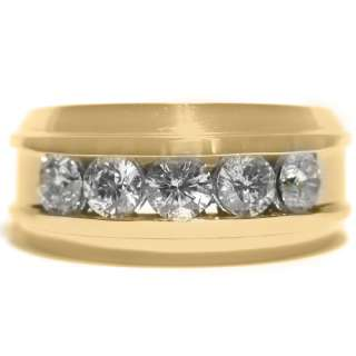 MENS 2 CARAT BRILLIANT ROUND CUT DIAMOND RING WEDDING BAND 14KT YELLOW