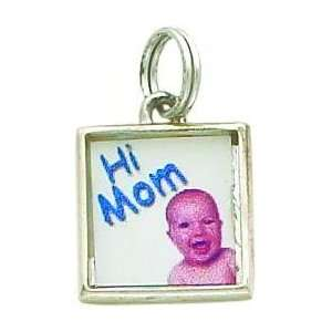 Sterling Silver Square Photo Charm Jewelry