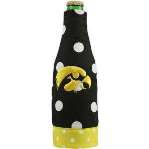NCAA Iowa Hawkeyes Black Polka Dot Canvas 12oz. Bottle