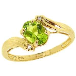 Yellow Gold Oval Gemstone and Diamond Engagement Ring Peridot, size8.5