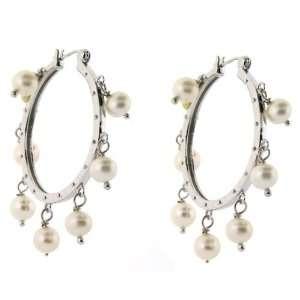 Sterling Silver Pearl White Hoop Earring Tarnish Free 1 1