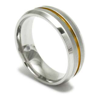 Stainless Steel Mens Comfort Fit Gold Stripe Band Ring