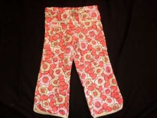 MINI BODEN Red Pink Floral Drawstring Cropped pants Capris Girl 7 8 Y