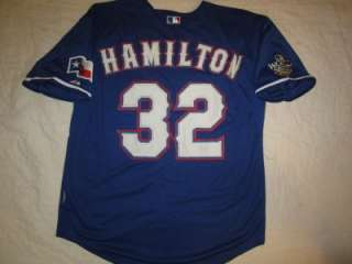 Sewn Josh Hamilton #32 Majestic Blue Jersey XL XXL XXXL World Series