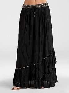 NWT GUESS Jeans $108 Sophie Black Long Maxi Boho Ruffle Skirt dress XS