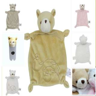US New Baby Boys Girls Security Blanket Comfort Soft Dou Dou Bear Toys