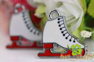 30 PCS Tibetan silver red white shoes Roller skating Pendants Charms
