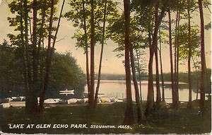 EARLY STOUGHTON, MA POSTCARD BOATS+LAKE AT GLEN ECHO PARK. |
