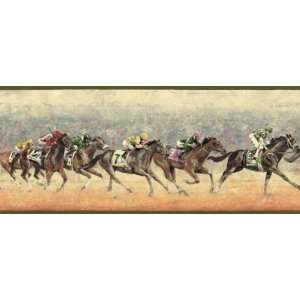 Race Horses Green Wallpaper Border