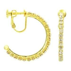 Pipers Screwback Rhinestone Hoop Earrings Medium   Gold