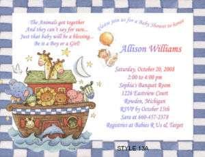 Noahs Ark Noahs Ark Animals Baby Shower Invitations