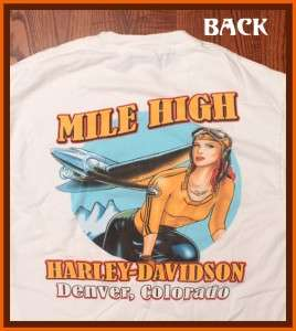 Mile High Harley Davidson Motorcycle T Shirt L