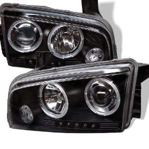Dodge Charger 05 06 07 08 Projector Halo Headlights with LED   Black