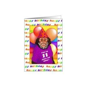 11 Years Old Birthday Cards Humorous Monkey Card: Toys