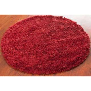 Hand woven Shag Solo Red Carpet Area Rug 4 Round