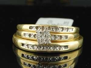 Yellow Gold Finish Diamond Engagement Ring Wedding Band Trio Set
