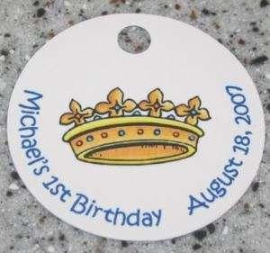 20 Custom Prince Crown Favor Tags   Birthday Party