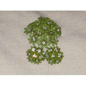 Vintage Green Enamel w/ Rhinestone Flower Power Brooch w/ Screw Back