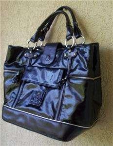 DONALD PLINER Black Patent Leather Handbag/Tote New