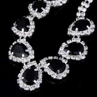 CZ chain black faceted crystal drop necklace earring set 41N