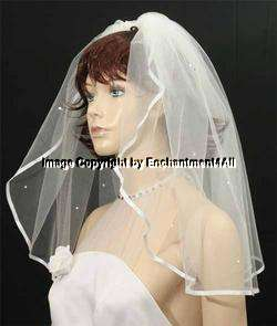 DIAMOND WHITE Wedding Bridal Veil Swarovski Crystal, 5