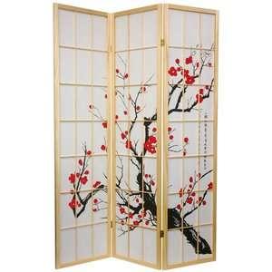 Oriental Furniture Flower Blossom Room Divider in Natural Decor