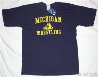 Michigan Wolverines Wrestling T Shirt Navy Tee NEW