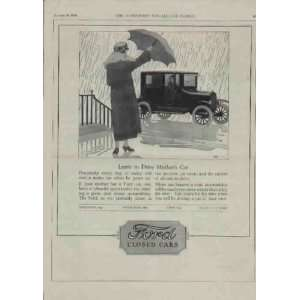 Learn to Drive Mothers Car .. 1924 Ford Closed Cars Ad