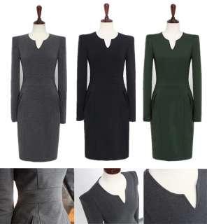 J201 WOMEN ONE PIECE LONG DRESS BLACK V NECK GREEN GRAY BLACK 2