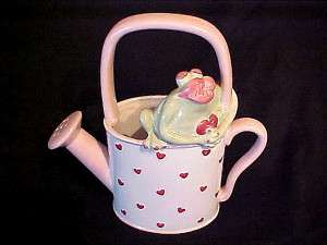 GANZ Art Pottery GIRL FROG LIPS Figurine WATERING CAN