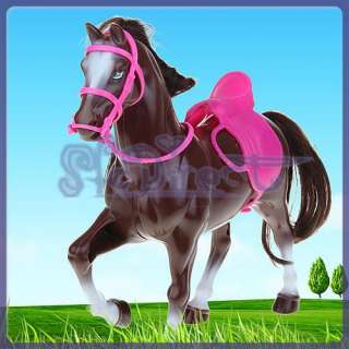 Princess Horse for Barbie/Ken Doll Brown w/ Pink Saddle
