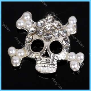 3D Alloy Rhinestones Skull Nail Art Glitters DIY Decoration NEW