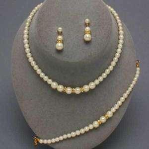 Gold White Pearl Earring Necklace Bracelet Choker Set
