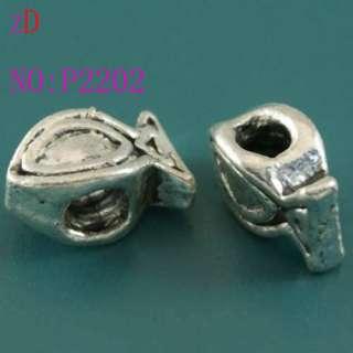P2202 2pc Silver Spacer Beads Fish Pendant Fit Bracelet
