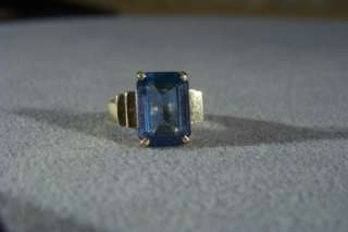 ANTIQUE 10 K YELLOW GOLD LONDON BLUE TOPAZ HEAVY RING 6