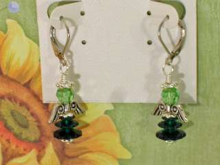 St. Patricks Day Green Flower Dress Crystal Beaded Guardian Angel