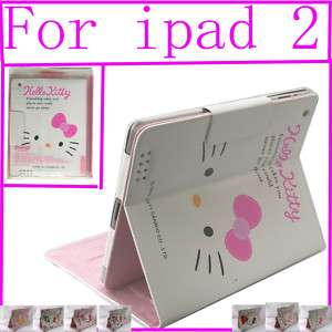 Hello Kitty leather case stand for apple iPad2 peach