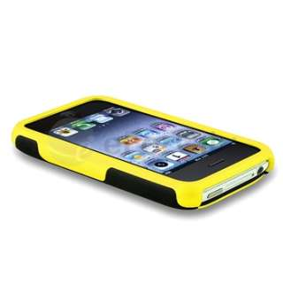 Yellow/Black 3 PIECE HYBRID RUBBER HARD CASE COVER FOR APPLE IPHONE 3G