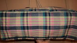NWT Large Tommy Hilfiger Logos Canvas Beach Tote, Plaid, Rope Handles