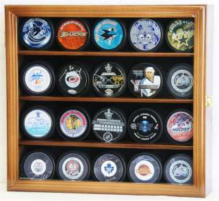 20 Hockey Puck Display Case Cabinet Holder Wall Rack