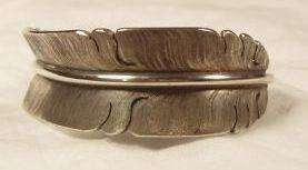 Silver Feather Cuff Bracelet Michael Kirk Navajo Native American