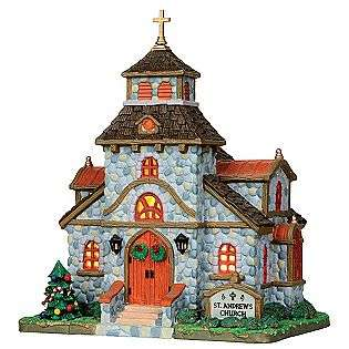 Christmas Village Porcelain Lighted House   St. Andrews Church  Lemax