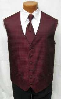 Dark Red Tuxedo Fullback Vest w 2 Ties Choose Your Size