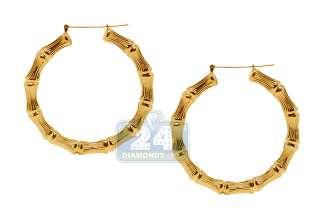 10K Yellow Gold Bamboo Hoop Womens Earrings 2 1/5 inch