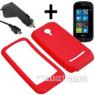 Silicone Gel Skin Cover Case R + Charger For LG Quantum