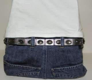 NEW CALVIN KLEIN JEANS WOMENS LEATHER BELT SILVER JEWELED SLIM ONE