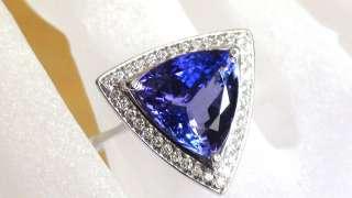 7ct Tanzanite Diamond 14k White Gold Cocktail Engagement Ring