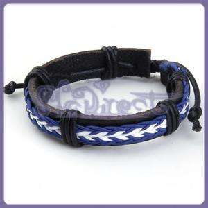 White Blue Surfer Leather Braided Bracelet Wristband